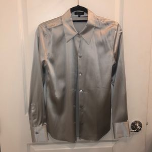 THEORY SILVER MIST STRETCH SATIN TAGS ATTACHED